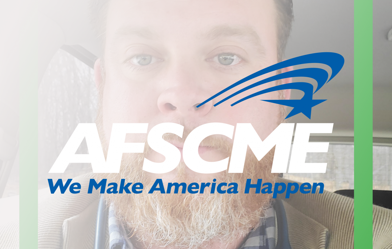 Nurse Charles with AFSCME Logo
